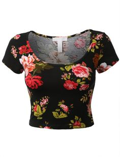 Womens Fitted Short Sleeve Floral Print Crop Top