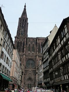 view of cathedral through street of Strasbourg, France Strasbourg, Beautiful World, Beautiful Places, Barcelona Cathedral, Places Ive Been, The Good Place, Greece, Cruise, England