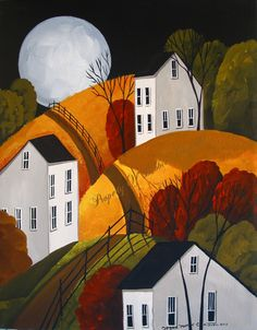 Original Painting Folk Art Landscape Autumn Full Moon Saltbox White Houses Trees…