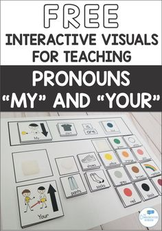 "Free Interactive Visual for teaching the pronouns ""my"" and ""your"" for children with autism or language delays in preschool speech therapy, how to teach pronouns in ABA Teaching Pronouns, Pronoun Activities, Autism Activities, Language Activities, Aba Therapy Activities, Articulation Activities, Sorting Activities, Phonics, Aba Therapy For Autism"