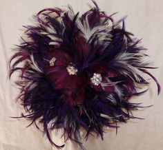Plum and Dark Purple Feather Wedding Bouquet Great Gatsby Inspired. Via Etsy: By 3Mimis
