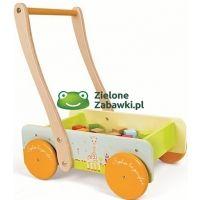 Pchacz, chodzik dla dzieci, drewniany wózek z klockami,