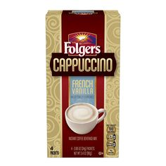 New Folgers Cappuccino French Vanilla Coffee 4 Packets  100 calories each #Folgers
