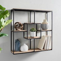 Our Wood and Metal Modular Wall Shelf is a unique and modern storage solution! Welded Furniture, Iron Furniture, Steel Furniture, Home Decor Furniture, Furniture Design, Wood And Metal Shelves, Wood Wall Shelf, Wall Shelves Design, Wall Shelving