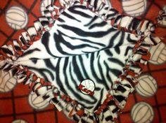 Red Volleyball with Zebra Print Handtied by CraftyGirlDesignByAK, $50.00
