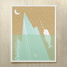 Narwhal Bee Land Print 16x20, $35, now featured on Fab.