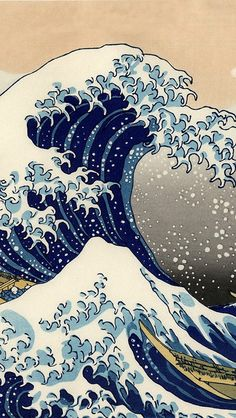 The Great Wave off Kanagawa is a woodblock print by the Japanese artist Hokusai. An example of ukiyo-e art, it is the first in Hokusai's series Thirty-six Views of Mount Fuji, and is his most famous work. Japanese Waves, Japanese Prints, Art Asiatique, Arte Sketchbook, Great Wave Off Kanagawa, Art Japonais, Inspiration Art, Japanese Painting, Japanese Artwork