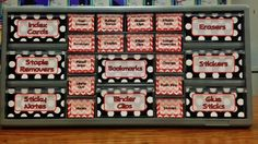 Create your own teacher toolbox with free printable drawer labels. 3 different styles. Classroom Labels Free, Red Classroom, Polka Dot Classroom, Classroom Setup, Music Classroom, Classroom Organization, Classroom Management, Classroom Libraries, Behavior Management
