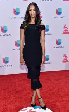 Zoey Saldana from The Best of the Red Carpet  The Colombiana star strikes a pose in a off-the-shoulder Roland Mouret LBD paired with strappy pumps.