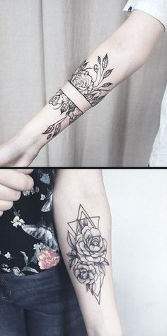 Geometric Diamond Rose Forearm Tattoo Ideas for Women - Black Wild Flower Vine Leaf Arm Tat - www.MyBodiArt.com