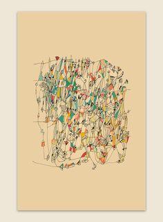 Holiday Sale Circus in Paris - abstract art print  mixed media art print colorful fine art print. $25.00, via Etsy.