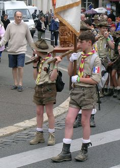 "Scouts' religious procession -  ""Healthy Christian moral values make for happier kids & and a peaceful world."""