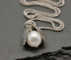 Natural Pearl Necklace  Silver Necklace  Oyster by amyfinedesign