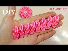 Diy Ribbon Flowers, Zipper Flowers, Fabric Flower Headbands, Ribbon Flower Tutorial, Ribbon Embroidery Tutorial, Ribbon Art, Ribbon Crafts, Flower Crafts, Fabric Flowers
