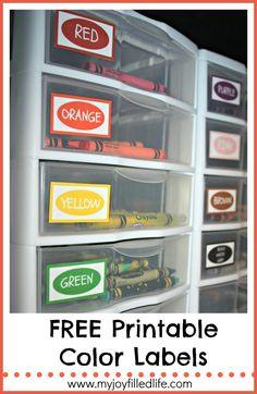 Crayon Organization & Color Labels Printable - My Joy-Filled Life