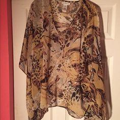 Flowing sheer tunic, worn 1x Flowing tunic, worn 1x, earthy colors Susan Graver Tops Tunics