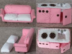 Felt dollhouse, kitchen and sofa