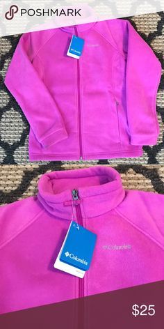 """**BNWT** COLUMBIA FLEECE ZIP UP JACKET!!😍💙😍💙😍 BNWT!!!! GIRLS COLUMBIA ZIP UP FLEECE JACKET!! SZ. L (14/16) BUT ALSO FITS A WOMEN SIZE SMALL!!!!                                               Product details The warm fleece of our Columbia zip-front jacket keeps you cozy and comfortable during all your outdoor adventures. lightweight elastic cuffs 2 zip pockets adjustable drawcord hem 25"""" length from shoulder MTR filament fleece polyester washable imported The North Face Jackets & Coats"""