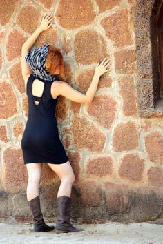Funky mini dress open back and hoodie by Picarona on Etsy