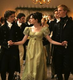 James McAvoy as Tom Lefroy, Anne Hathaway as Jane Austen and Laurence Fox as Mr. Wisley in Becoming Jane (2007).
