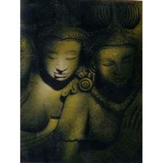 Asian Buddha Painting    An inspirational piece of Buddhist art, this extraordinary Asian Buddha painting depicts two Bodhisattva figures carved from stone.
