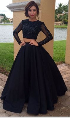 Two Piece Prom Dress,Black Beaded Prom Dresses,Evening Dress