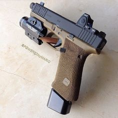 Glock 17 Gen4 FDE w/Trijicon RMR + Streamlight TLR-2 + suppressor sights + front slide serrations + grip stippling + grip reduction