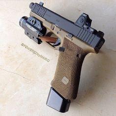 Glock 17 Gen4 FDE w/Trijicon RMR + Streamlight TLR-2 + suppressor sights + front slide serrations + grip stippling + grip reduction