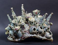 """Coral Garden"" high x x Ceramic Coral Reef Sculpture by artist Diane Martin Lublinski Ceramic Bowls, Ceramic Art, Wall Sculptures, Lion Sculpture, Coral Garden, Patio Wall, Sea Birds, Mexican Style, Under The Sea"