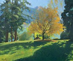 Happy Paintings, Your Paintings, Landscape Paintings, Watercolor Landscape, Watercolor Art, Tree Paintings, Pastel Landscape, Contemporary Landscape, Watercolor Portraits