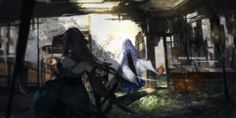 Anime - Pixiv Fantasia  Girl Warrior Long Hair Black Hair Blue Hair Digital Art CGI Ruin Japanese Clothes Yukata Wallpaper
