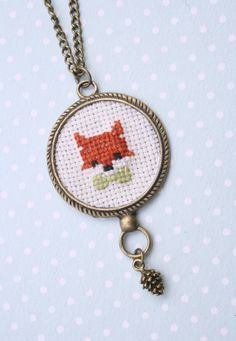 Cute fox cross stitch necklace by otterlydesign on Etsy