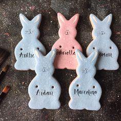 These cute bunnies were ordered as little Easter gifts Salt Dough Crafts, Salt Dough Ornaments, Clay Ornaments, Easter Gifts For Kids, Easy Easter Crafts, Salt Dough Decorations, Easter Candy, Easter Eggs, Classroom Crafts