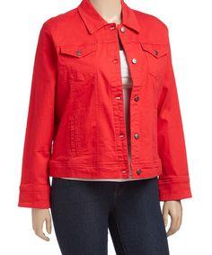 Look at this #zulilyfind! Red Denim Jacket - Plus Too #zulilyfinds