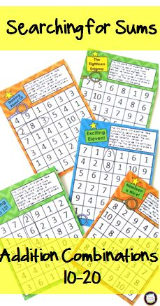 Build fluent addition with this set of number searches and coordinating games for sums of ten through 20. So many uses ... an easy addition to your math centers, great for early finishers, a fun homework alternative, and a super addition to your supply teacher or substitute plans