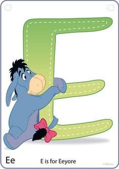 E for Eeyore (Preschool Cards by CurrysCoolCreations @Etsy) #WinnieThePooh