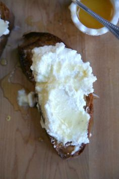Creamy ricotta, crusty bread, and sweet honey make for a perfect snack, morning, noon, or night.