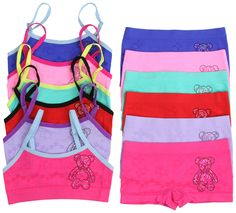 ToBeInStyle Girl's 6 Pack Set Spaghetti Strap Bras Boyshorts - Teddy Bear - M. A large variety of print styles to choose from. Sizes: Small (Ages 4-6), Medium (Ages 7-11), Large (Ages 12-14). Recommended Care Instructions: Machine Wash Cold. Do Not Bleach. Do Not Iron. Do Not Tumble Dry. Matching Bras and Boyshorts. Seamless. Adjustable Spaghetti Straps. Materials: Nylon-Spandex Blend.