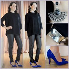 Tricô + couro + azul Klein  Every Day outfits