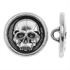 TIERRACAST PEWTER ROUND BUTTON SCARY SKULL FACE 165MM 1 PIECE ANTIQUED SILVER from beadaholique.com