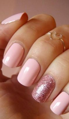 Incredible Glitter Accent Nail Art Ideas You Need To Try- baby-pink-nails-with-rose-glitter-accent-nail-art - Manicure Rose, Manicure Colors, Nail Colors, Manicure Ideas, Pedicure Manicure, Sinful Colors, Glitter Accent Nails, Glitter Nail Art, Sparkle Nails