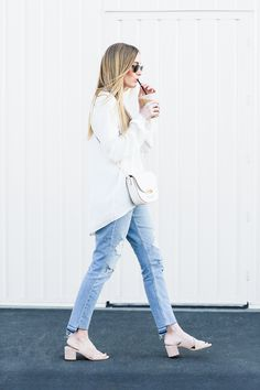 Sharing a creamy white Spring look featuring Elizabeth and James, Rag and Bone, Sigerson Morrison, Ray-ban, and Celine.