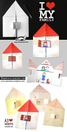 I ❤love my family craft. Make adorable paper houses and kids can color them I ❤love my family craft. Make adorable paper houses and kids can color them Kids Crafts, Family Crafts, Preschool Crafts, Projects For Kids, Diy For Kids, Arts And Crafts, Paper Crafts, Family Art Projects, Kids Fun
