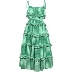 Innika Choo avens scalloped gingham frilled dress (2,240 MYR) ❤ liked on Polyvore featuring dresses, green, scalloped edge dress, ruffle dress, scallop trim dress, flouncy dress and frill dress