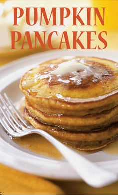 Pumpkin Pancakes | Martha Stewart Living - Use up your leftover canned pumpkin puree to make these spiced pancakes.