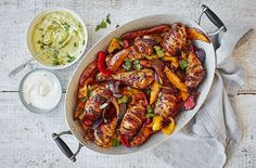 This chicken tray bake recipe is an easy, healthy dinner idea and the perfect answer to lazy weeknights. See more chicken recipes at Tesco Real Food. Mexican Chicken Recipes, Healthy Chicken Recipes, Veggie Recipes, Keto Chicken, Rotisserie Chicken, Grilled Chicken, Baked Chicken, Recipe Chicken, Duck Recipes