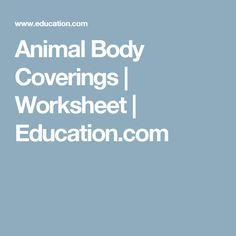 Animal Body Coverings | Worksheet | Education.com