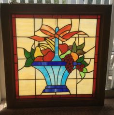 "28"" X 28"" framed STAINED GLASS WINDOW WITH FRUIT BASKET DETAIL"