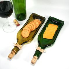 Dark Green Wine Bottle Serving Tray or Spoon Rest with Cork- Recycled Eco-Friendly