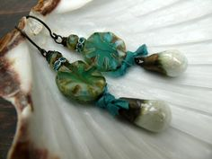 The Sky over Tenby - OOAK artisan stoneware, czech glass and sari silk sparkly drop earrings. by PreciousViolet on Etsy